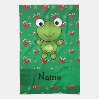 Personalized name frog green candy canes bows tea towel