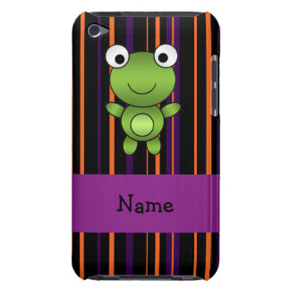 Personalized name frog halloween stripes Case-Mate iPod touch case