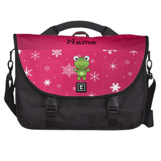 Personalized name frog pink snowflakes bag for laptop