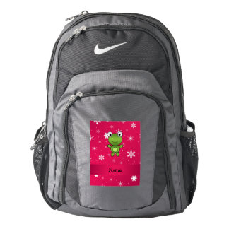 Personalized name frog pink snowflakes backpack