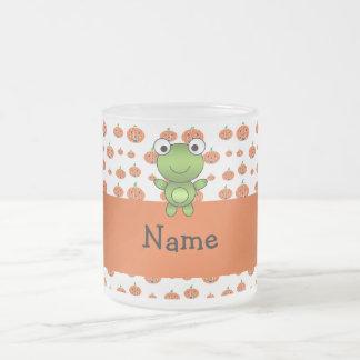 Personalized name frog pumpkins pattern mug