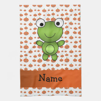 Personalized name frog pumpkins pattern tea towel
