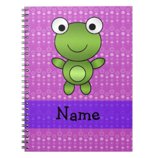 Personalized name frog purple bubbles notebook