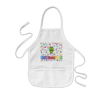 Personalized name frog rainbow polka dots kids apron