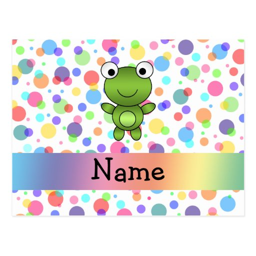 Personalized name frog rainbow polka dots post cards