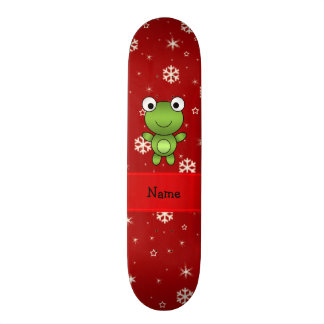 Personalized name frog red snowflakes skate deck