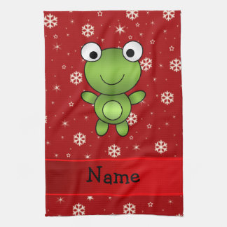 Personalized name frog red snowflakes tea towel
