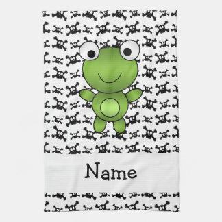 Personalized name frog skulls pattern tea towel