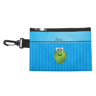 Personalized name frog sky blue stripes accessory bag