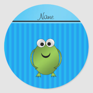 Personalized name frog sky blue stripes classic round sticker