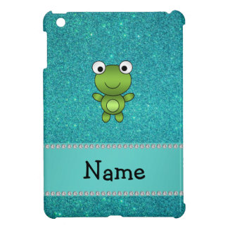 Personalized name frog turquoise glitter iPad mini covers