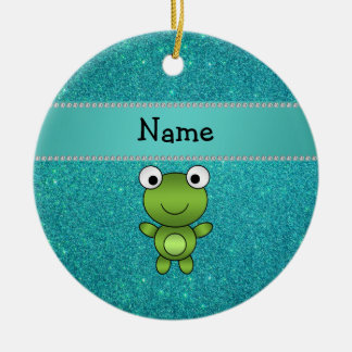 Personalized name frog turquoise glitter round ceramic decoration