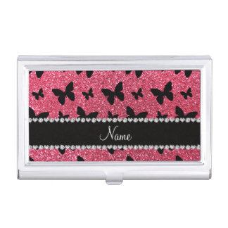 Personalized name fuchsia pink glitter butterflies business card holder
