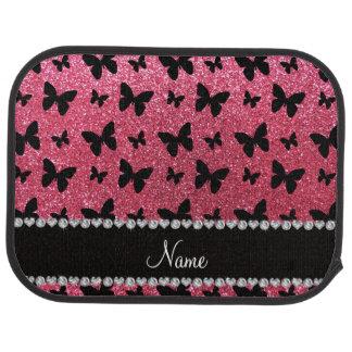 Personalized name fuchsia pink glitter butterflies car mat
