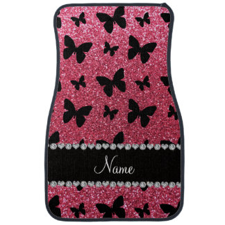 Personalized name fuchsia pink glitter butterflies car mat