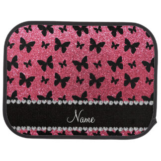 Personalized name fuchsia pink glitter butterflies floor mat