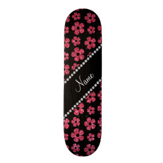 Personalized name fuchsia pink glitter flowers 18.1 cm old school skateboard deck
