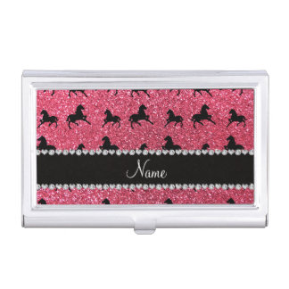 Personalized name fuchsia pink glitter horses business card holder