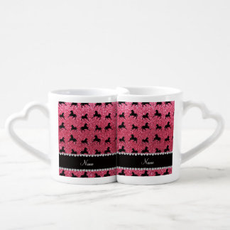 Personalized name fuchsia pink glitter horses lovers mug