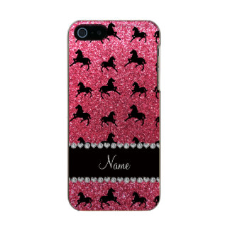 Personalized name fuchsia pink glitter horses incipio feather® shine iPhone 5 case