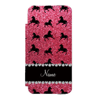 Personalized name fuchsia pink glitter horses incipio watson™ iPhone 5 wallet case