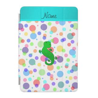 Personalized name gecko white rainbow polka dots iPad mini cover