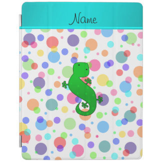 Personalized name gecko white rainbow polka dots iPad cover