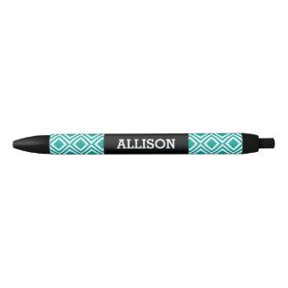 Personalized Name Geometric Diamond Teal Turquoise Black Ink Pen