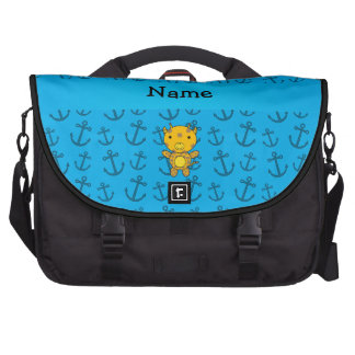 Personalized name giraffe blue anchors pattern commuter bag