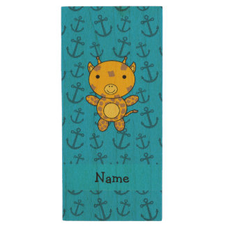 Personalized name giraffe blue anchors pattern wood USB 2.0 flash drive