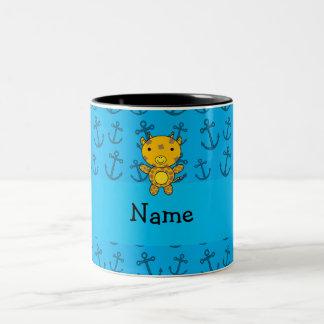 Personalized name giraffe blue anchors pattern mugs