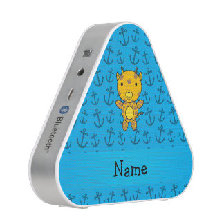Personalized name giraffe blue anchors pattern speaker