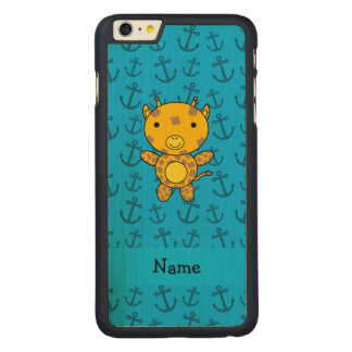 Personalized name giraffe blue anchors pattern carved® maple iPhone 6 plus case