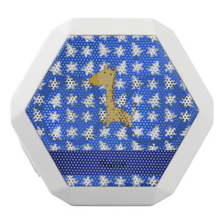 Personalized name giraffe blue snowflakes trees white boombot rex bluetooth speaker