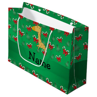 Personalized name giraffe green candy canes bows large gift bag