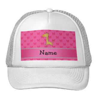 Personalized name giraffe pink butterflies trucker hats