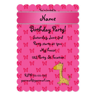 """Personalized name giraffe pink butterflies 5"""" x 7"""" invitation card"""