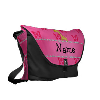 Personalized name giraffe pink butterflies messenger bag