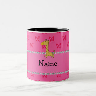 Personalized name giraffe pink butterflies mug