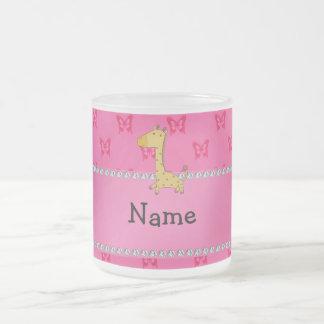 Personalized name giraffe pink butterflies mugs