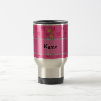 Personalized name giraffe pink butterflies coffee mugs