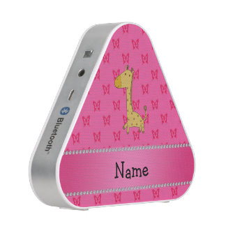 Personalized name giraffe pink butterflies bluetooth speaker