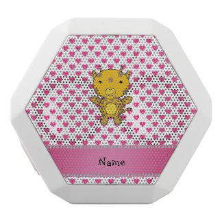Personalized name giraffe pink hearts polka dots white boombot rex bluetooth speaker