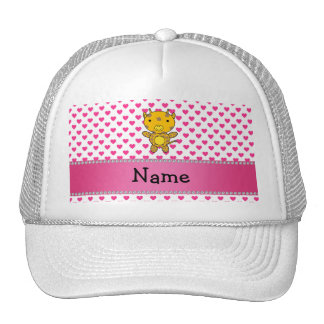 Personalized name giraffe pink hearts polka dots trucker hats
