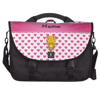 Personalized name giraffe pink hearts polka dots laptop computer bag