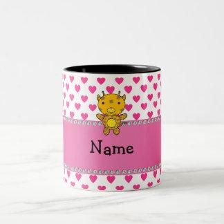 Personalized name giraffe pink hearts polka dots mug