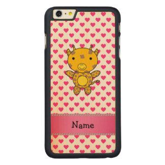Personalized name giraffe pink hearts polka dots carved® maple iPhone 6 plus slim case