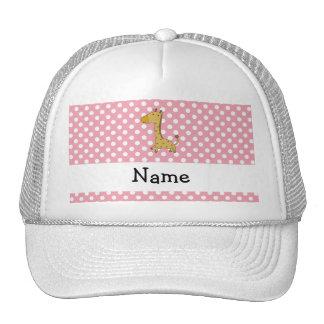 Personalized name giraffe pink polka dots hats
