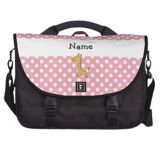 Personalized name giraffe pink polka dots computer bag