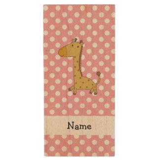 Personalized name giraffe pink polka dots wood USB 2.0 flash drive